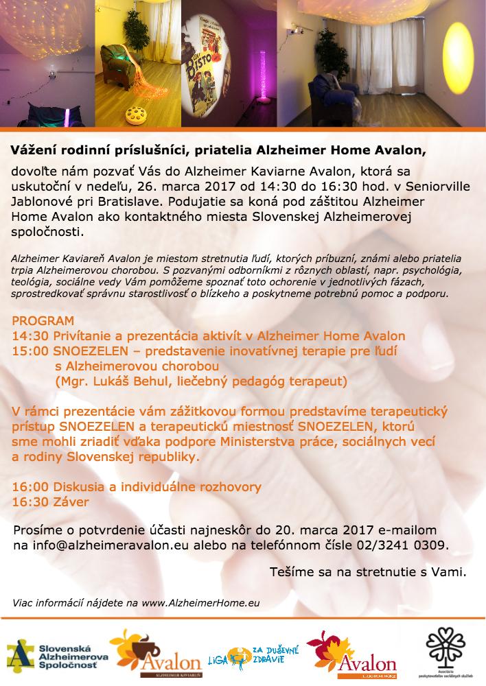 Pozvánka na V. Alzheimer Kaviareň Avalon marec 2017