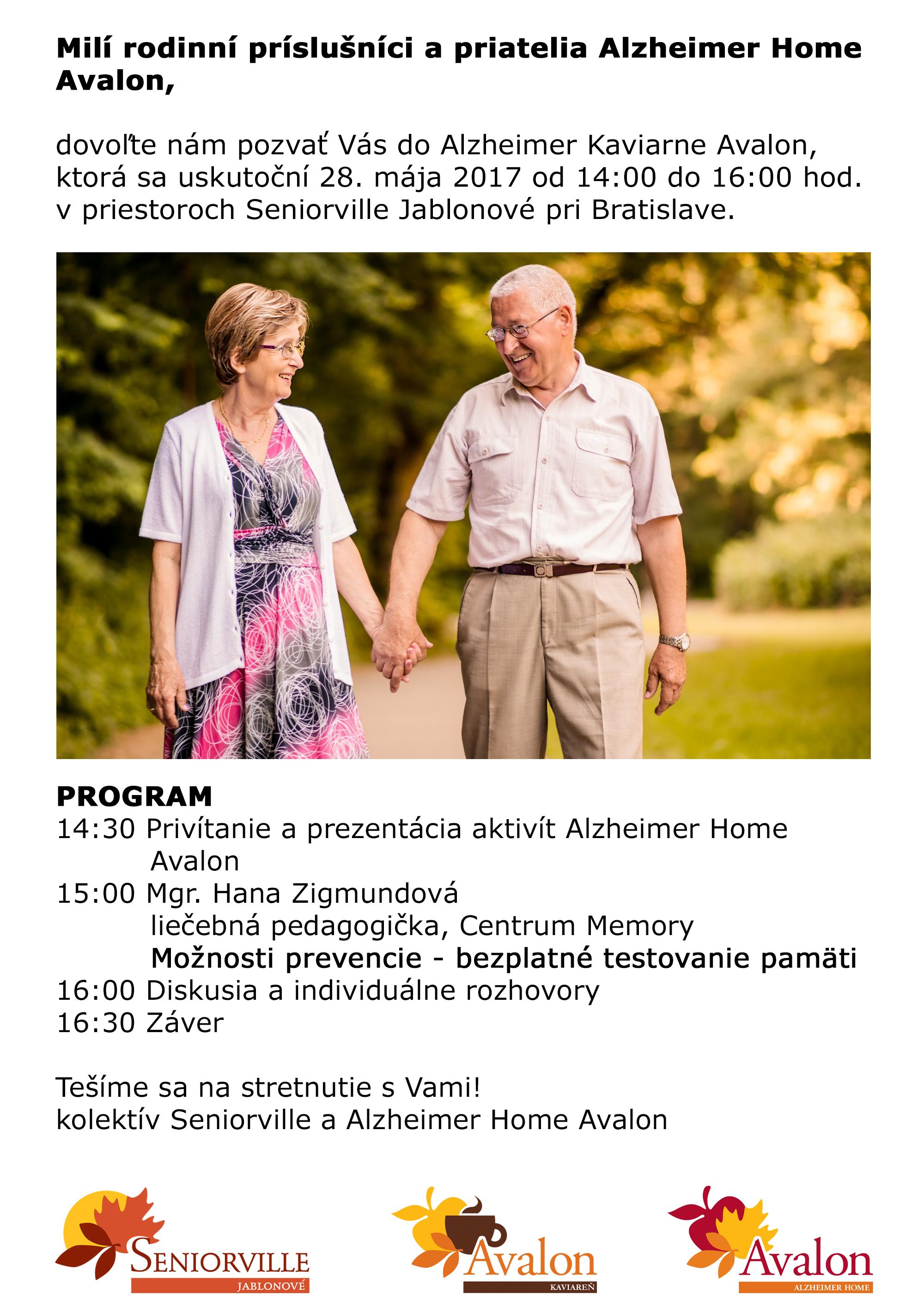Pozvánka na VI. Alzheimer Kaviareň Avalon máj 2017